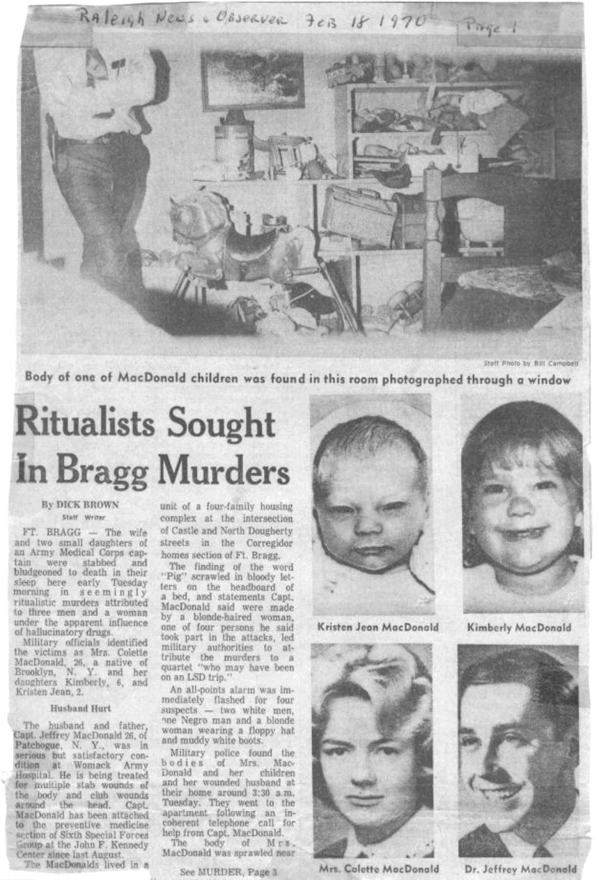 February 18, 1970: Excerpt from The News and Observer newspaper article: Ritualists Sought in Bragg Murders